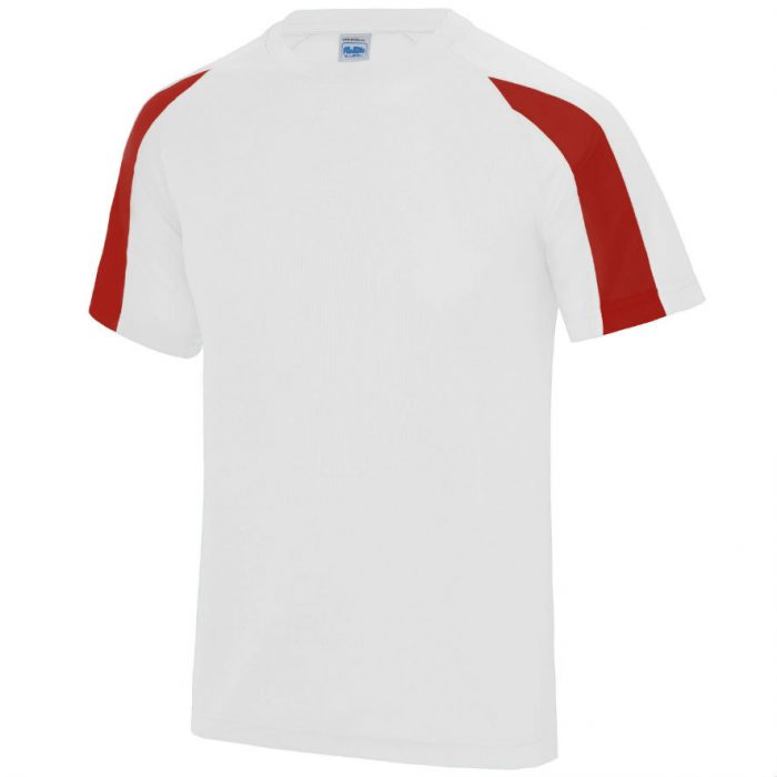 Poolside Contrast Micro Eyelet tee Arctic White Fire Red
