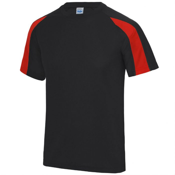 Poolside Contrast Micro Eyelet tee JetBlack FireRed