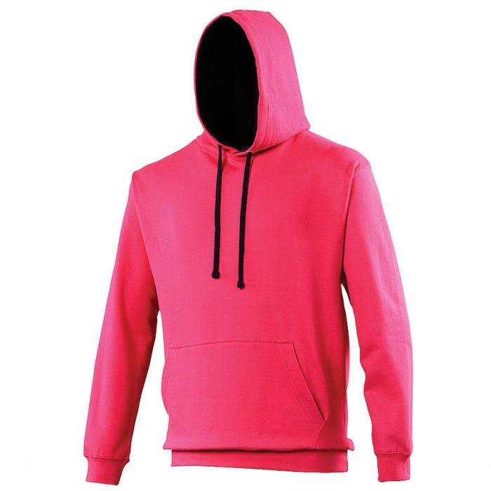 Swimteam Varsity Contrast Hooded Sweatshirt HotPink_FrenchNavy