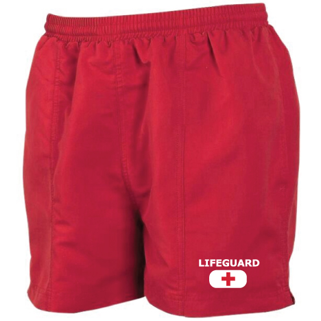 mens lifeguard shorts red