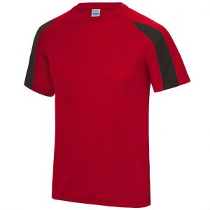 Poolside Contrast Micro Eyelet tee Fire Red Jet Black