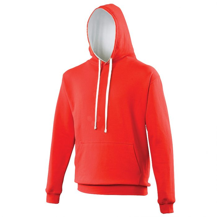 Swimteam Varsity Contrast Hooded Sweatshirt FireRed_ArcticWhite