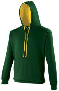 Swimteam Varsity Contrast Hooded Sweatshirt ForestGreen