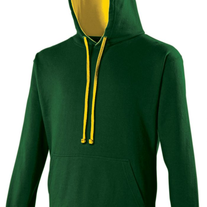 Swimteam Varsity Contrast Hooded Sweatshirt ForestGreen