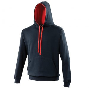 Swimteam Varsity Contrast Hooded Sweatshirt FrenchNavy_FireRed