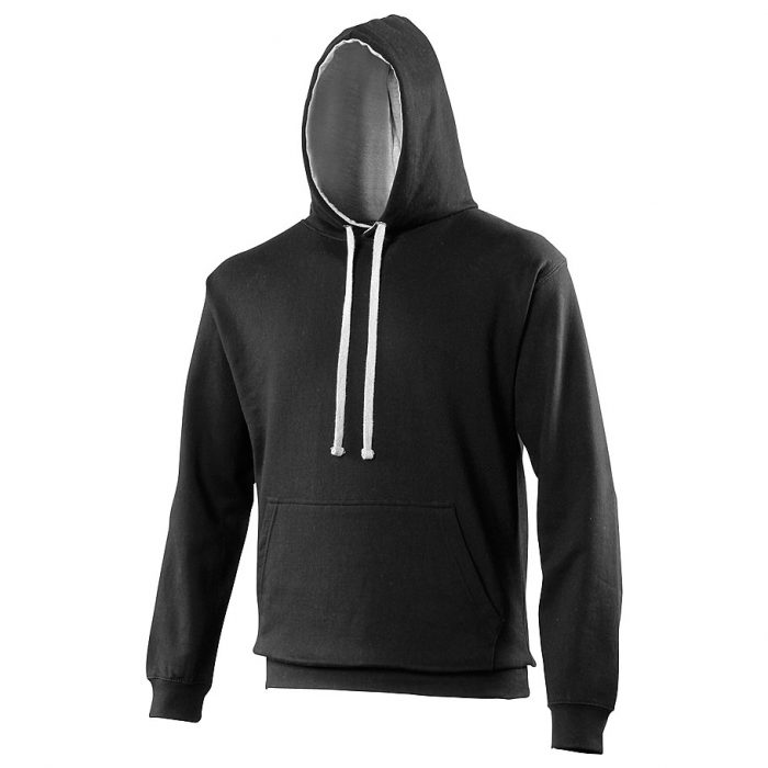 Swimteam Varsity Contrast Hooded Sweatshirt JetBlack_HeatherGrey