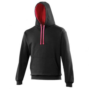 Swimteam Varsity Contrast Hooded Sweatshirt JetBlack_HotPink