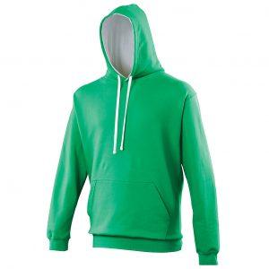 Swimteam Varsity Contrast Hooded Sweatshirt KellyGreen_ArcticWhite