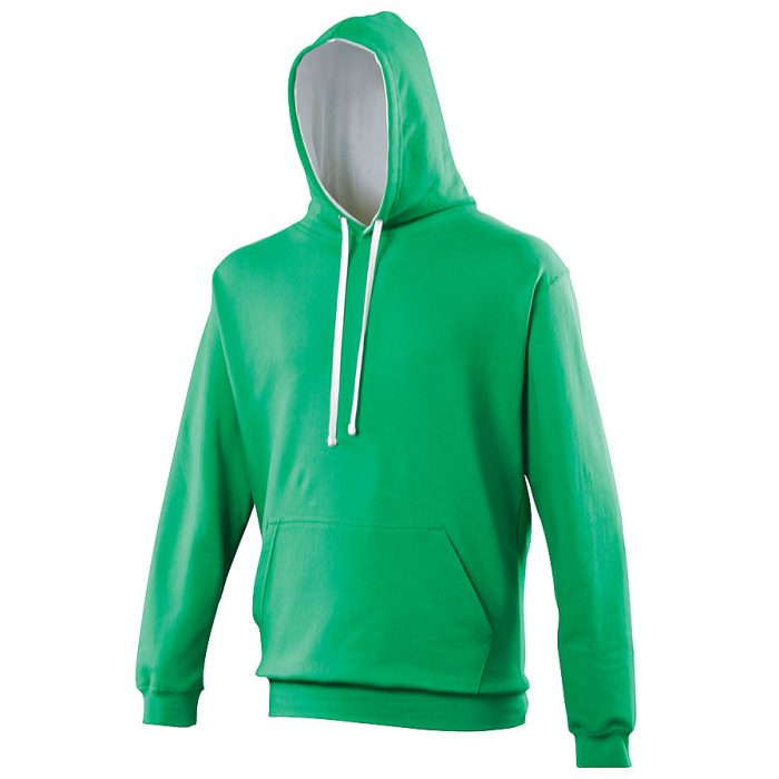 Swimteam Varsity Contrast Hooded Sweatshirt KellyGreen_ArcticWhite