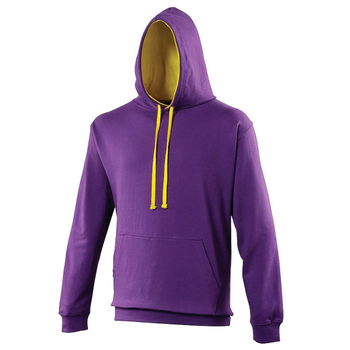 Swimteam Varsity Contrast Hooded Sweatshirt Purple_SunYellow