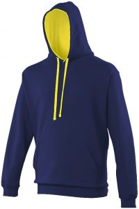 Swimteam Varsity Contrast Hooded Sweatshirt Oxford Navy_Sun Yellow