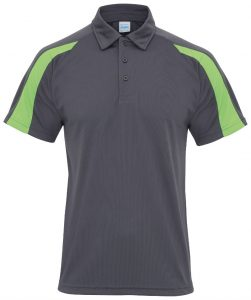 Poolside Contrast Polo Charcoal/Lime Green