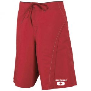 mens lifeguard board shorts red