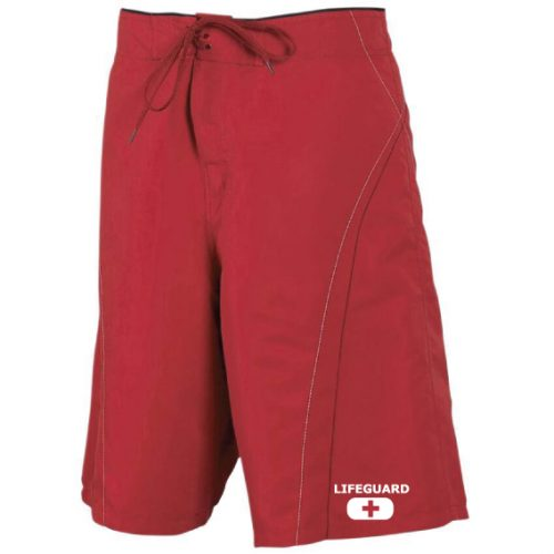 mens lifeguard board shorts red
